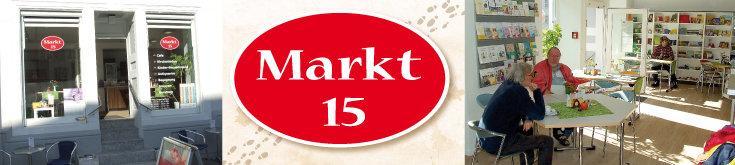 Markt 15: Außenansicht/Eingang, Logo, Innenraum mit Blick auf Tischgruppen und Prospekt- und Geschenkregale; Quelle: (2) © Diakonie Emmendingen, (1+3) Norbert Gatz, (2) © Diakonie Emmendingen, (1+3) Norbert Gatz