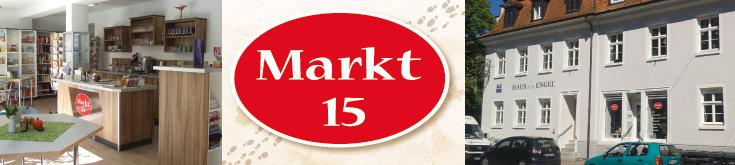 Markt 15: Innenraum, Logo, Außenansicht/Eingang; Quelle: (2) © Diakonie Emmendingen, (1+3) Norbert Gatz, (2) © Diakonie Emmendingen, (1+3) Norbert Gatz